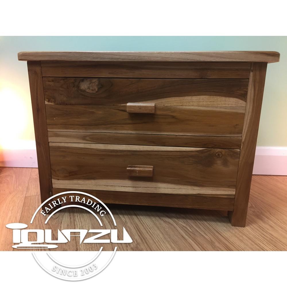 Large 2 Drawer Bedside Cabinet Teak