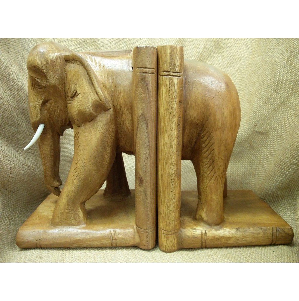 Large Wooden Elephant Bookends